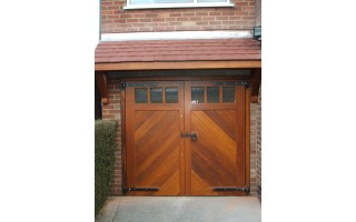 Glazed Frame, Brace & Ledge Garage Doors (Hardwood)